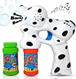 Haktoys Dalmatian Dog Bubble Gun Shooter Light Up Blower | Puppy Bubble Blaster for Kids, Parties, Etc. | with LED Flashing Lights, Extra Refill Bottle, Music & Barking Sound (Batteries Included)