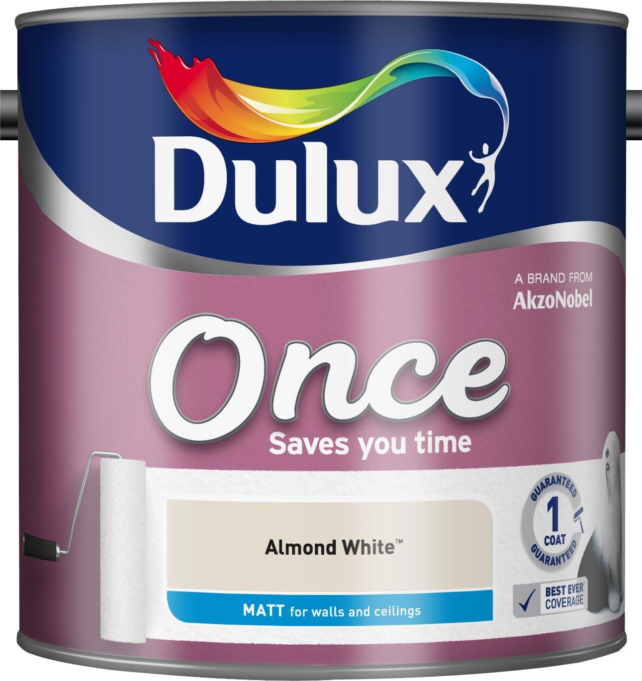 Dulux Once Matt Paint for Walls, 2.5 L - Pure Brilliant White 5190900