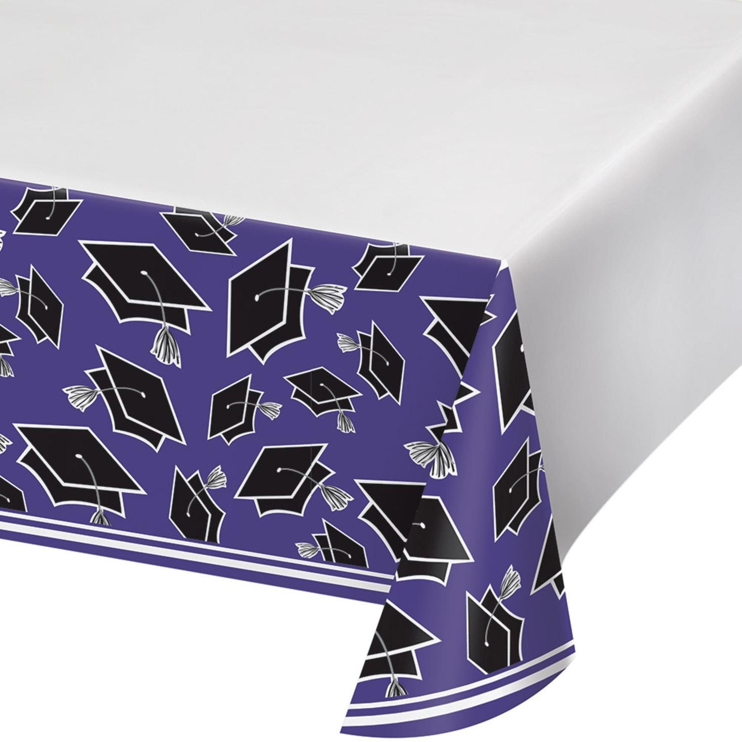 Party Central Club Pack of 12 Black and Purple School Spirit Theme Decorative Table Cover 102''