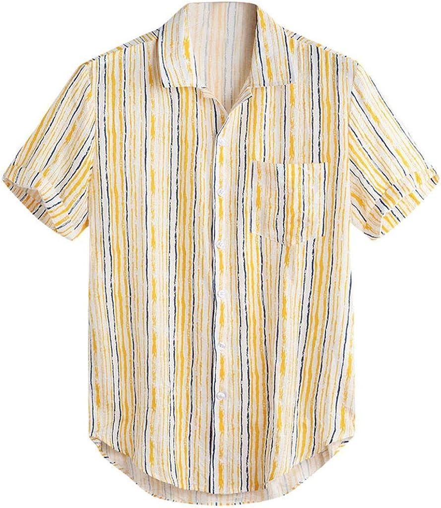 ACEBABY Camisa Hombre Camisa Hawaiana Manga Corta de Rayas, Hawaii Playa Ropa Hombre Verano Camisa del Tema en la Fiesta de Bodas Cumpleaños Camiseta España Camisa Amarilla: Amazon.es: Ropa y accesorios