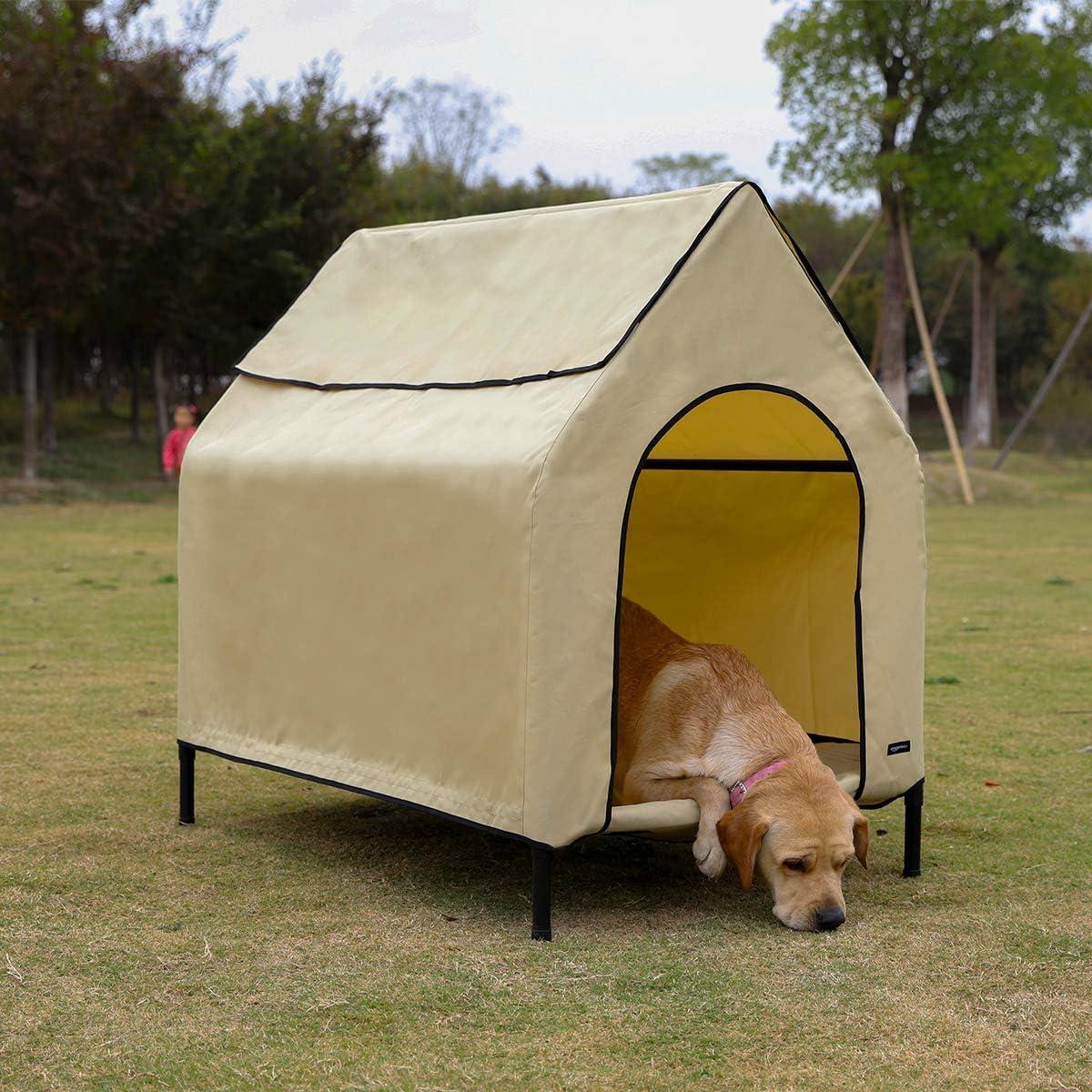 AmazonBasics Elevated Portable Pet House, Medium 43 x 35 x 30 Inches , Khaki