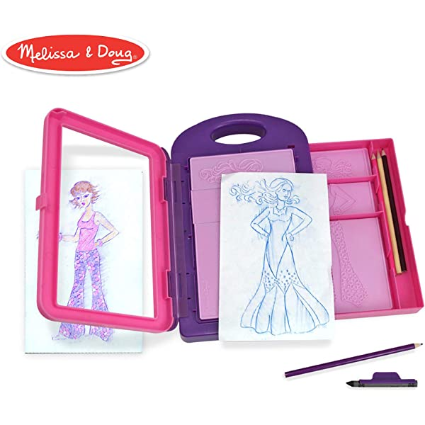 Melissa Doug Fashion Design Art Activity Kit 9 Double Sided Rubbing Plates 4 Pencils Crayon Toy Amazon Com Au Toys Games
