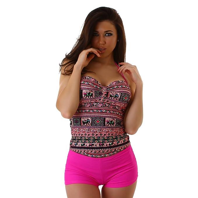 6b2b2fe77e479 Veryzen Tankini Damen Bikini bauchweg Bademode Badeanzug Polster Zweiteiler  Panty Top Paisley Print: Amazon.de: Bekleidung