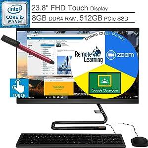 "Lenovo IdeaCentre A340 24 AIO 23.8"" FHD Touchscreen All in One Desktop Computer, Intel Hexa-Core i5-9400T (Beats i7-6700), 8GB DDR4 RAM, 512GB PCIe SSD, DVDRW, Windows 10, BROAGE 64GB Flash Stylus"