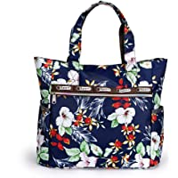 Hipiwe Large Travel Tote Bag for Women Girls Lightweight Shoulder Bag with Pockets Foldable Floral Water Resistant Beach Tote Bag Handbag for Shopping Gym Picnic (Petunia Flower)