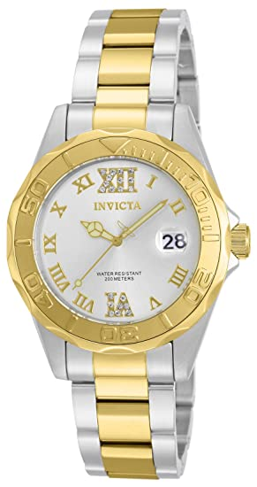 13c995a1629 Amazon.com  Invicta Women s 12852 Pro Diver Gold Dial Two Tone Watch with  Crystal Accents  Invicta  Watches