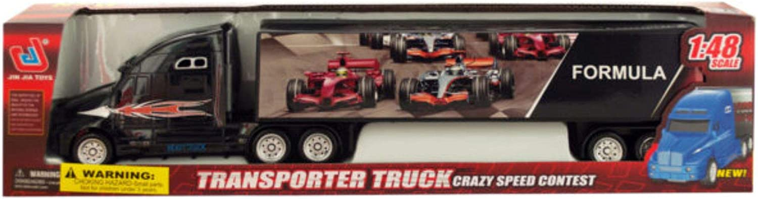 The Wholesale Shop Pack of 2 Red and Black Friction Powered Trailer Truck with Race Car Decals 15.25