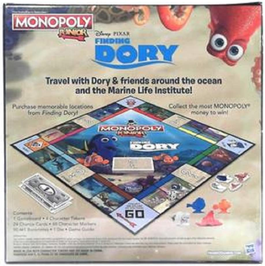 Hasbro B8616 - Monopoly Junior Family Board Game - Disney Pixar - Finding Dory Edition: Amazon.es: Juguetes y juegos