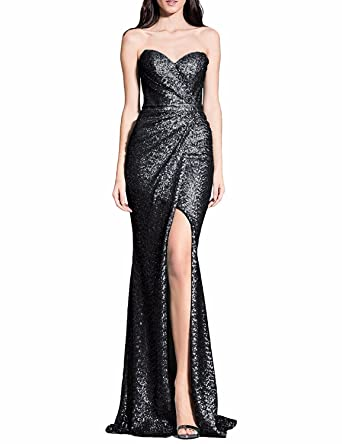 LL Bridal Strapless High Slit Evening Dresses 2018 Mermaid Long Prom Formal Gown Black Size 2