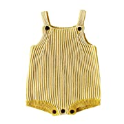 Pinleck Infant Baby Girls Boys Knit Stripe Romper Sleeveless Strap Bodysuit Jumpsuit (Yellow, 73/Fit 12 Months)