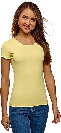 oodji Ultra Mujer Camiseta Básica con Cuello Redondo: Amazon.es: Ropa y accesorios