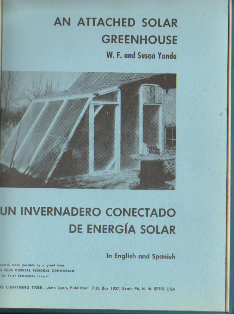 An attached solar greenhouse, in English and Spanish
