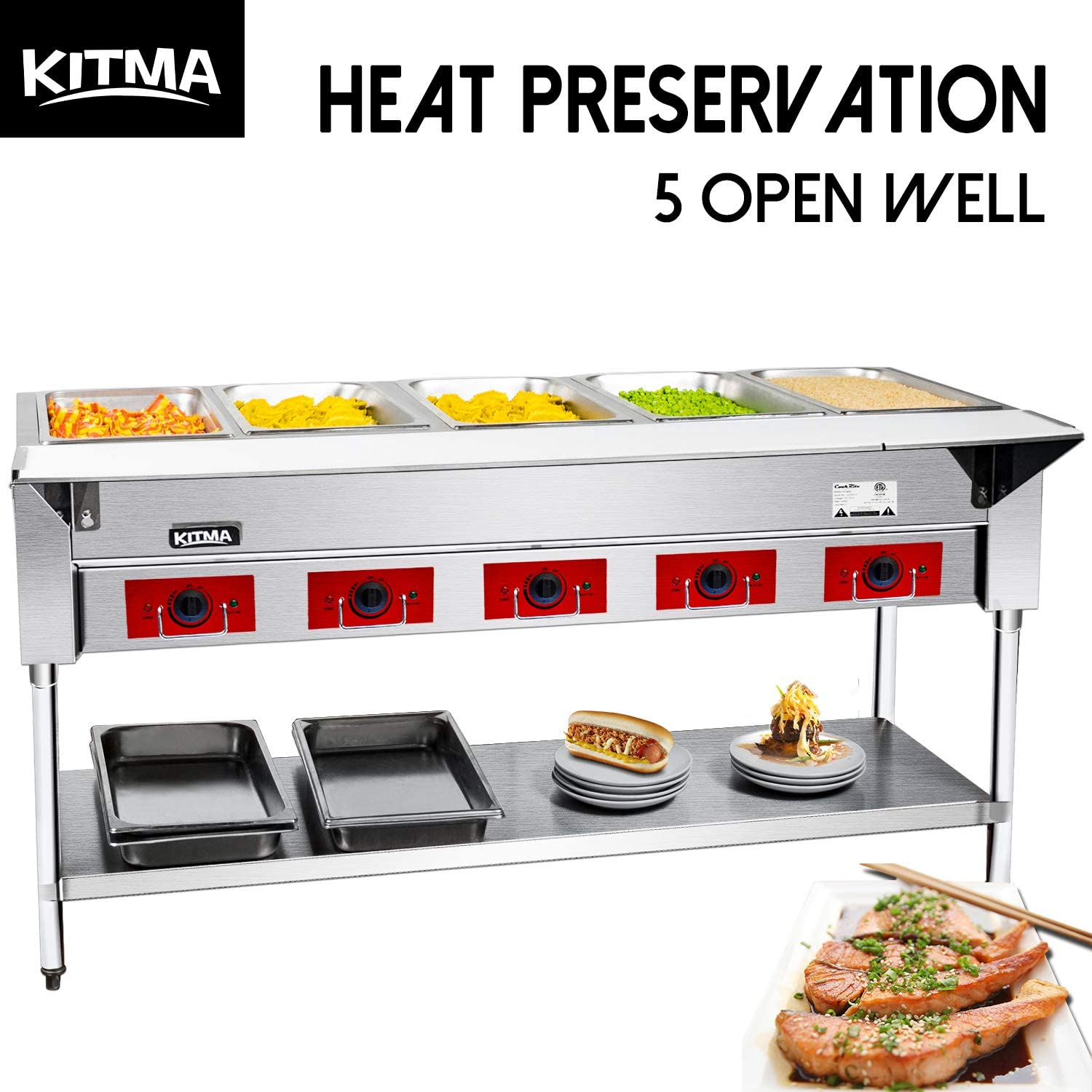 Commercial 240 V Electric Food Warmer – Kitma 5 Pot Stainless Steel Steam Table, Buffet Server for Catering and Restaurant