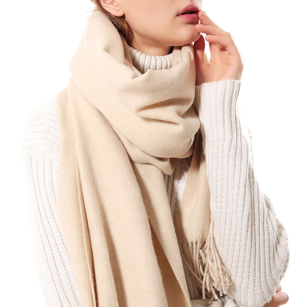 Womens Thick Soft Cashmere Wool Pashmina Shawl Wrap Scarf - Aone Warm Stole(Beige)