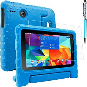 Protective Case Compatible Samsung Galaxy Tab E Lite 8.0 & Screen Protector & Stylus, AFUNTA Anti-Scratch Convertible Handle Stand EVA Case, PET Plastic Cover and Touch Pen for Tablet 8 Inch - Blue
