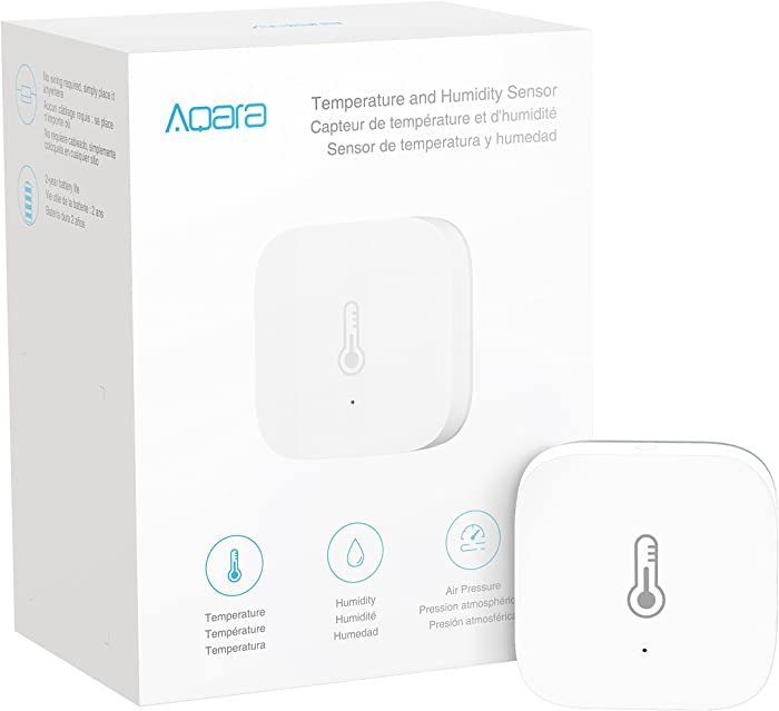 Aqara Temperature and Humidity Sensor, REQUIRES AQARA HUB, Zigbee Connection, for Remote Monitoring and Smart Home Automation, Wireless Thermometer Hygrometer, Compatible with Apple HomeKit, Alexa