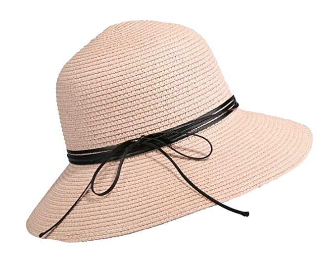 aca18332 Image Unavailable. Image not available for. Color: Home Prefer Womens Straw Sun  Hat UPF50+ Wide Brim Floppy Hat Summer Beach Cap (B