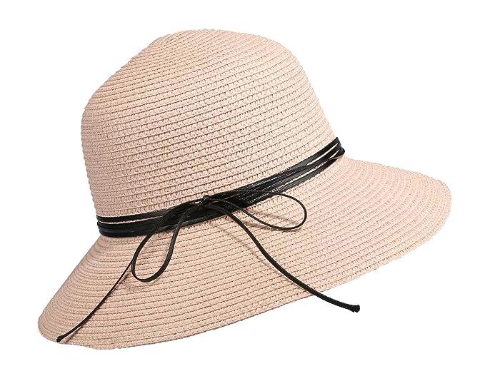 a9b98780 Home Prefer Womens Straw Sun Hat UPF50+ Wide Brim Floppy Hat Summer Beach  Cap (B