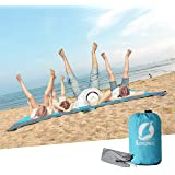 LEWONDE Sand Proof Beach Blanket - 7'x9' Oversized Lightweight Fordable Waterproof Picnic Mat-Built In Sand Bag, Zippable Pocket-Free Ground Anchors - Ideal Family Travel Kit for Outdoor Camping