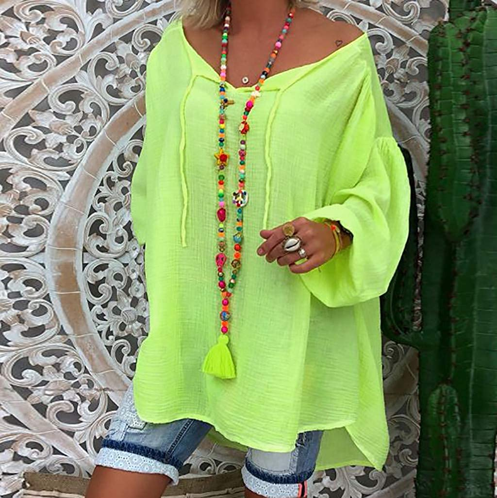 ANJUNIE Womens Oversize Shirt Loose Solid Long Sleeve V-Neck Pullover Casual Tops