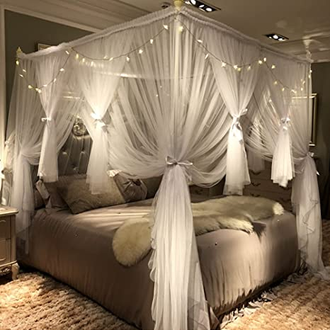 Joyreap 4 Corners Post Canopy Bed Curtain For Girls Adults Royal Luxurious Cozy Drapes 4 Opening Mosquito Net Cute Princess Bedroom Decoration Accessories White 59 W X