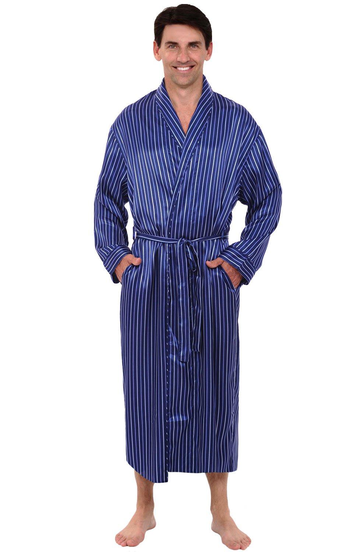 Alexander Del Rossa Mens Satin Robe, Long Lightweight Loungewear, 3XL Blue Striped (A0720R053X)