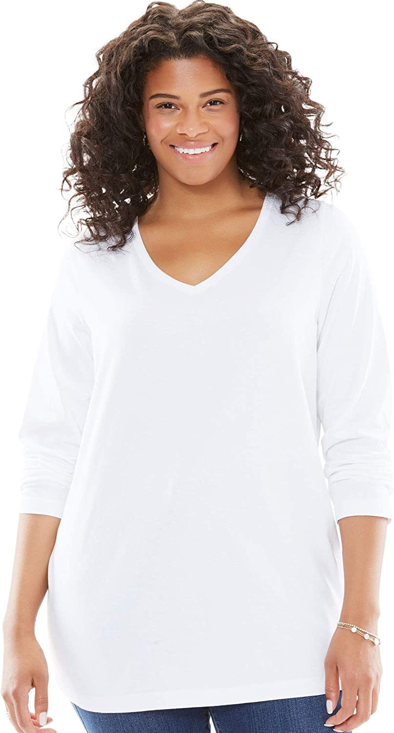 Woman Within Womens Plus Size Perfect V-Neck Long Sleeve Tee