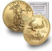 2020 1/2 oz Gold American Eagle BU In Coin Flip With CoinFolio COA $25 Brilliant Uncirculated