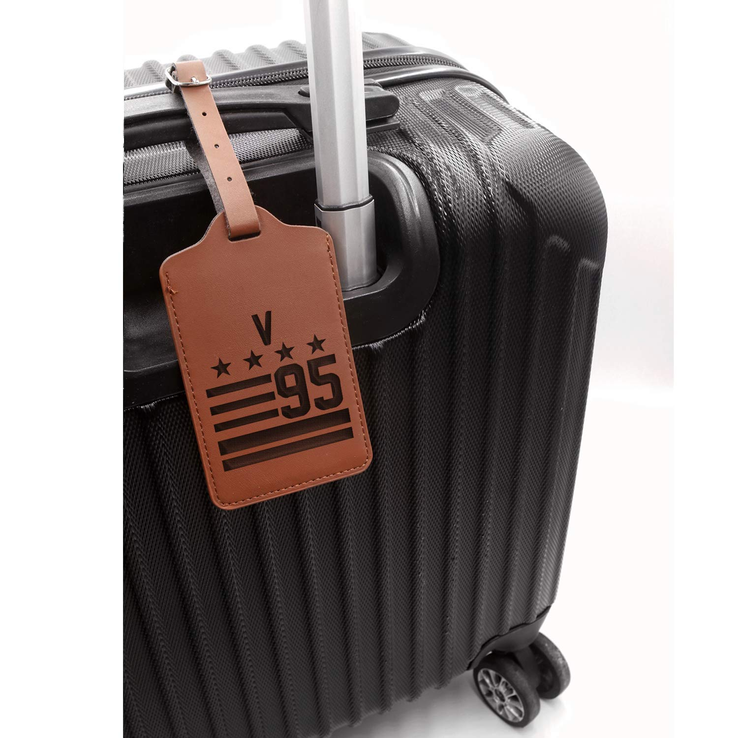 - United States Standard Hallyu Kpop Bts V 95 Engraved Synthetic Pu Leather Luggage Tag Handcrafted By Mastercraftsmen London Tan - Set Of 2 For Any Type Of Luggage
