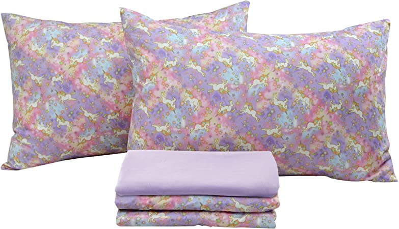 Brandream Unicorn Bedding Sets Full Size Girls Sheets 100 Cotton Bed Sheet Set Deep Pocket 18 Inch 1 Top Sheet 1 Fitted Sheet 2 Pillowcases Home Kitchen Amazon Com