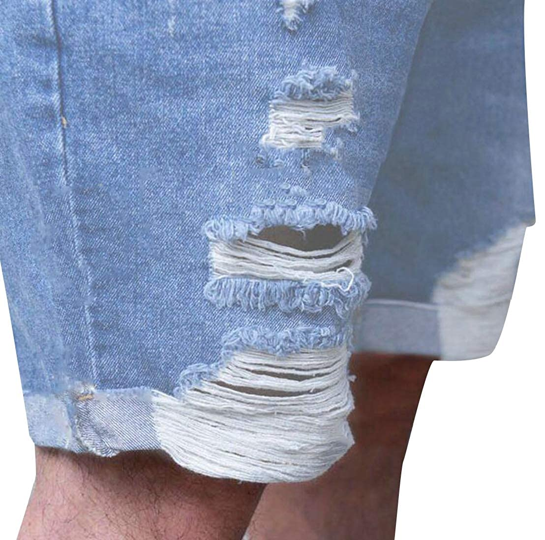 Generic Mens Summer Ripped Distressed Hole Straight Fit Denim Shorts