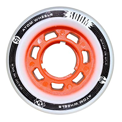 ATOM Boom Nylon Solid Core Quad Roller Skate Wheels - Available in 59x38 or 62x44 sizes and 3 hardnesses (Firm, X-Firm, XX-Firm) (Orange - X-Firm, 62mm - 4 pack): Toys & Games