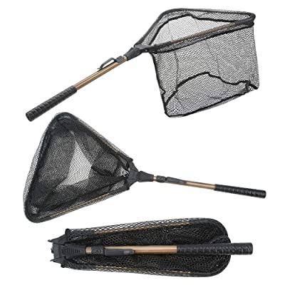 Folding Fishing Net - Yvleen Foldable Fish Landing Net Robust Aluminum telescopic pole handle and Safe Fish Catching or Releasing for Durable and Nylon Mesh 16inch Hoop Size