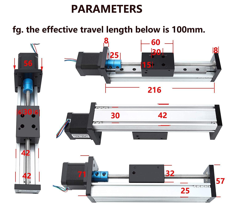 sistema tavola scorrevole serie STX Antrella 700mm Lunghezza effettiva Tavolo Scorrevole a Guida Lineare a Ricircolo di Sfere T8 x 2 con motori passo-passo 42