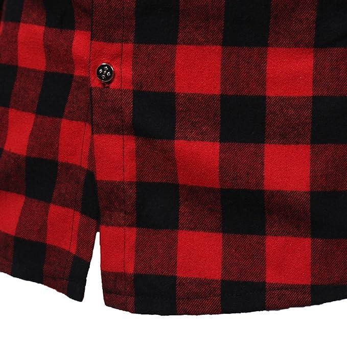 Suéter de Camisa con Capucha a Cuadros de los Hombres Ocasionales Yanhoo Los Hombres de Manga Larga Enrejado Impreso Sudadera con Capucha Sudadera con ...