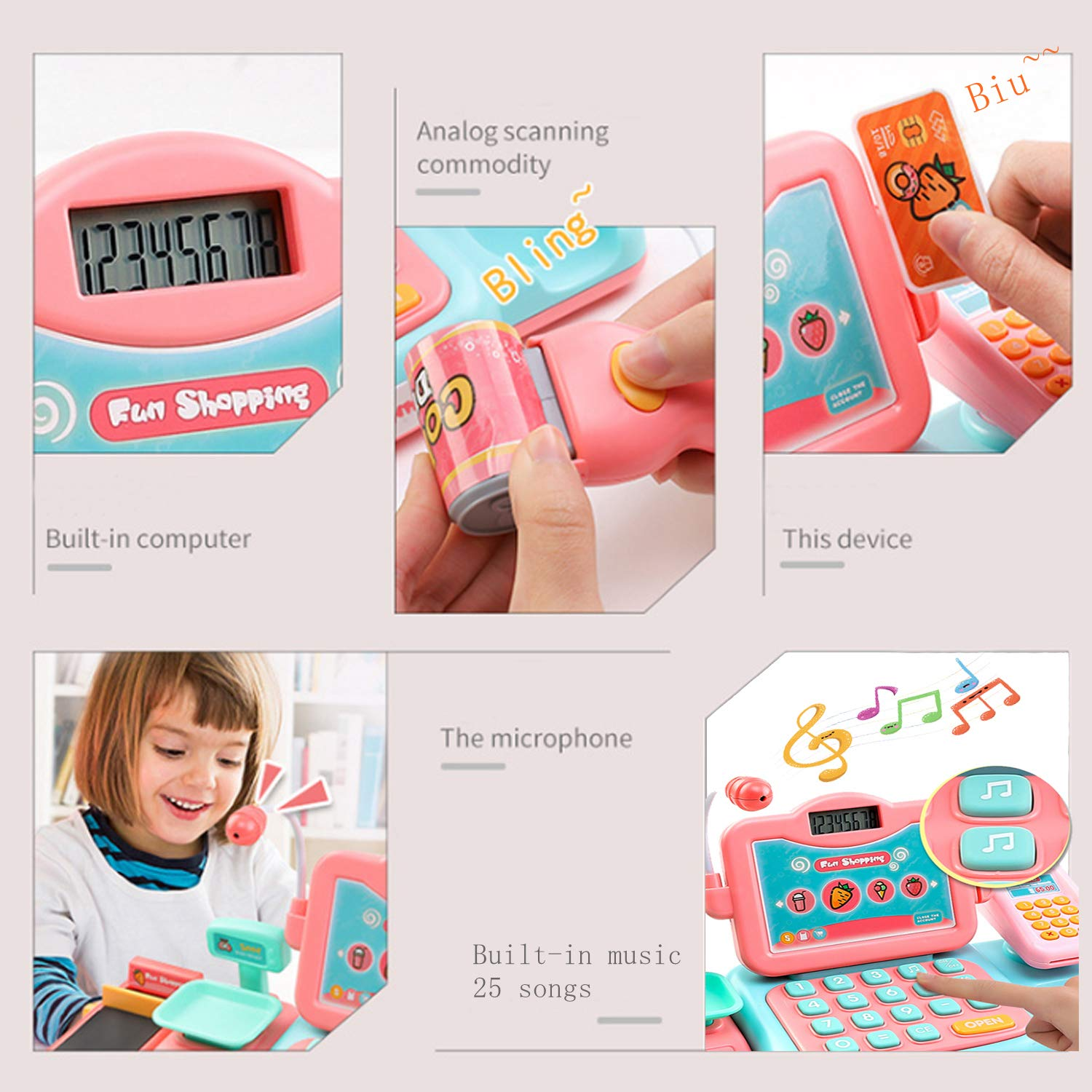 YYoomi Pretend Play Educational Cash Register Toy Classic Counting Toy with Microphone/ Calculator/ Scanner/ Sound/ Music for Kids & Toddlers & Preschoolers by YYoomi (Image #3)