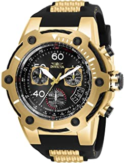 Invicta Mens Bolt Stainless Steel Quartz Watch with Silicone Strap, Black, 30 (Model