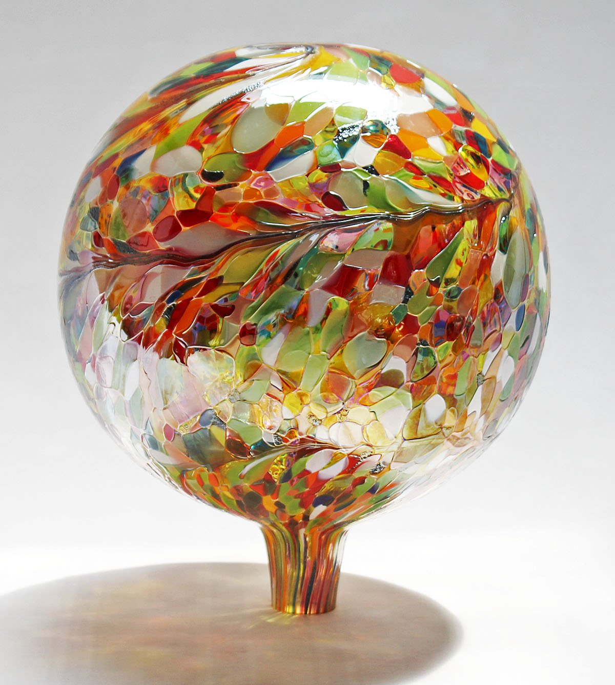 Glass Gazing Ball''Multicolor'' 12 Inch by Iron Art Glass Designs