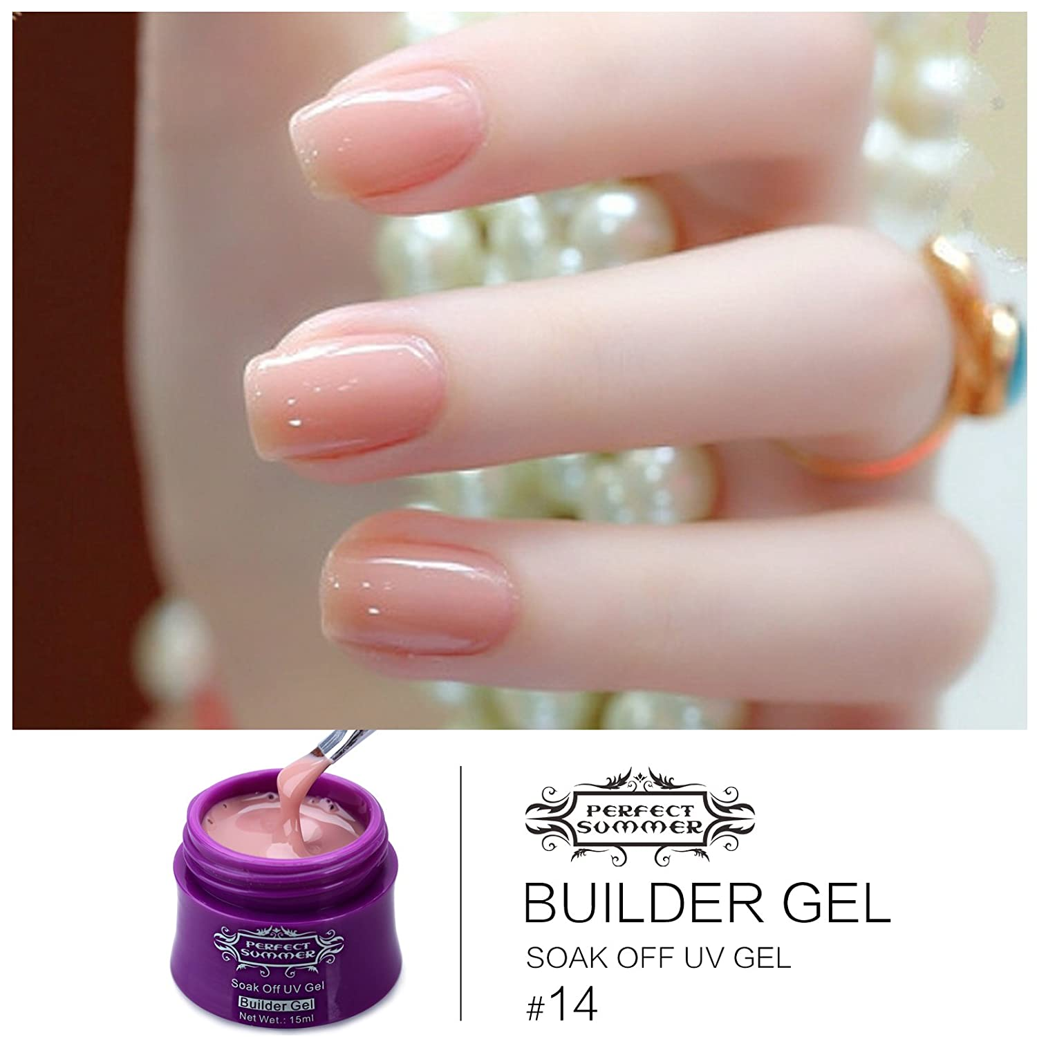 Amazon.com: Perfect Summer 6pcs Hard Builder Gel Nail Polish + 2pcs ...
