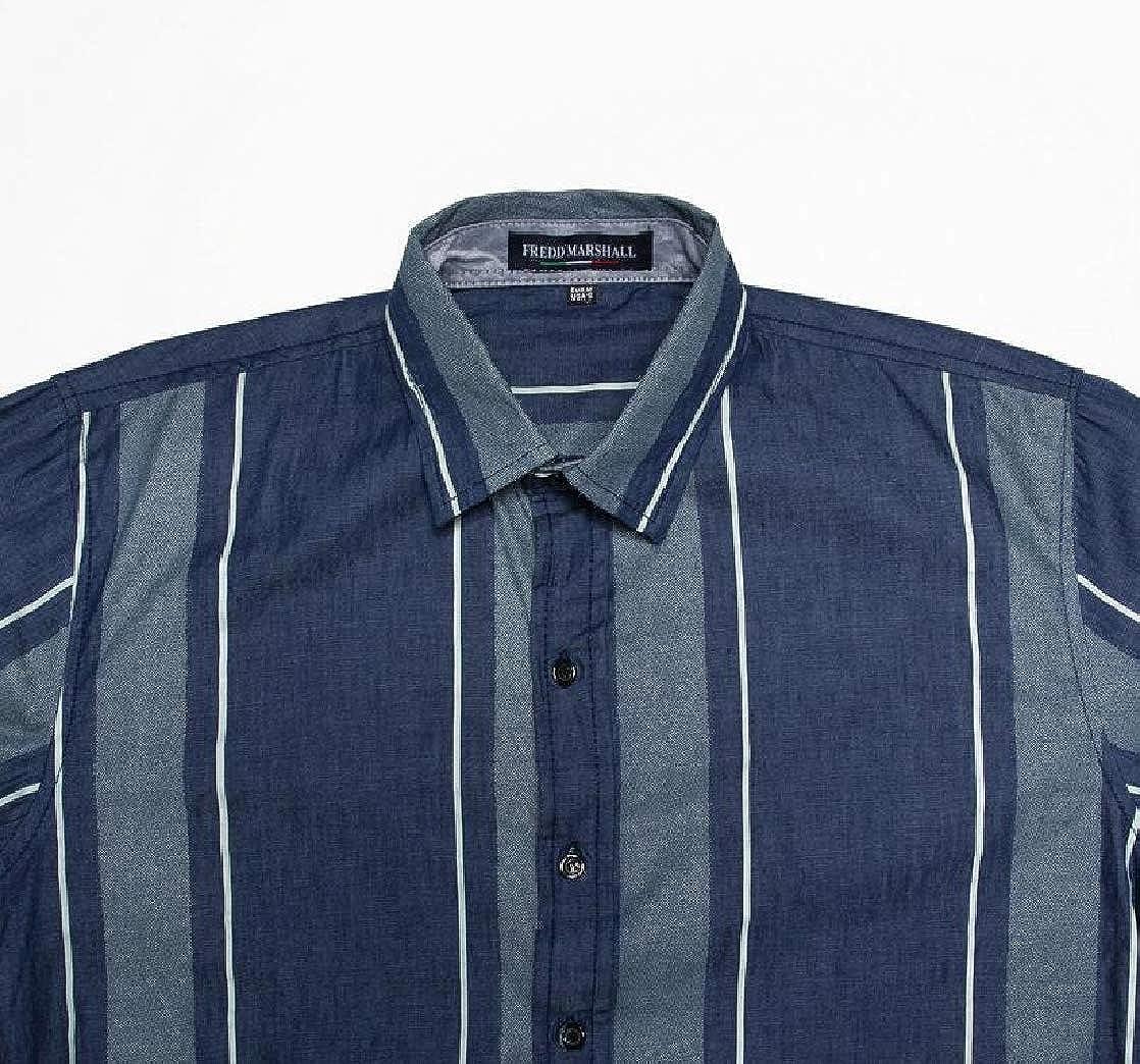 M/&S/&W Mens Slim Casual Long-Sleeves Stripe Button Down Denim Tops