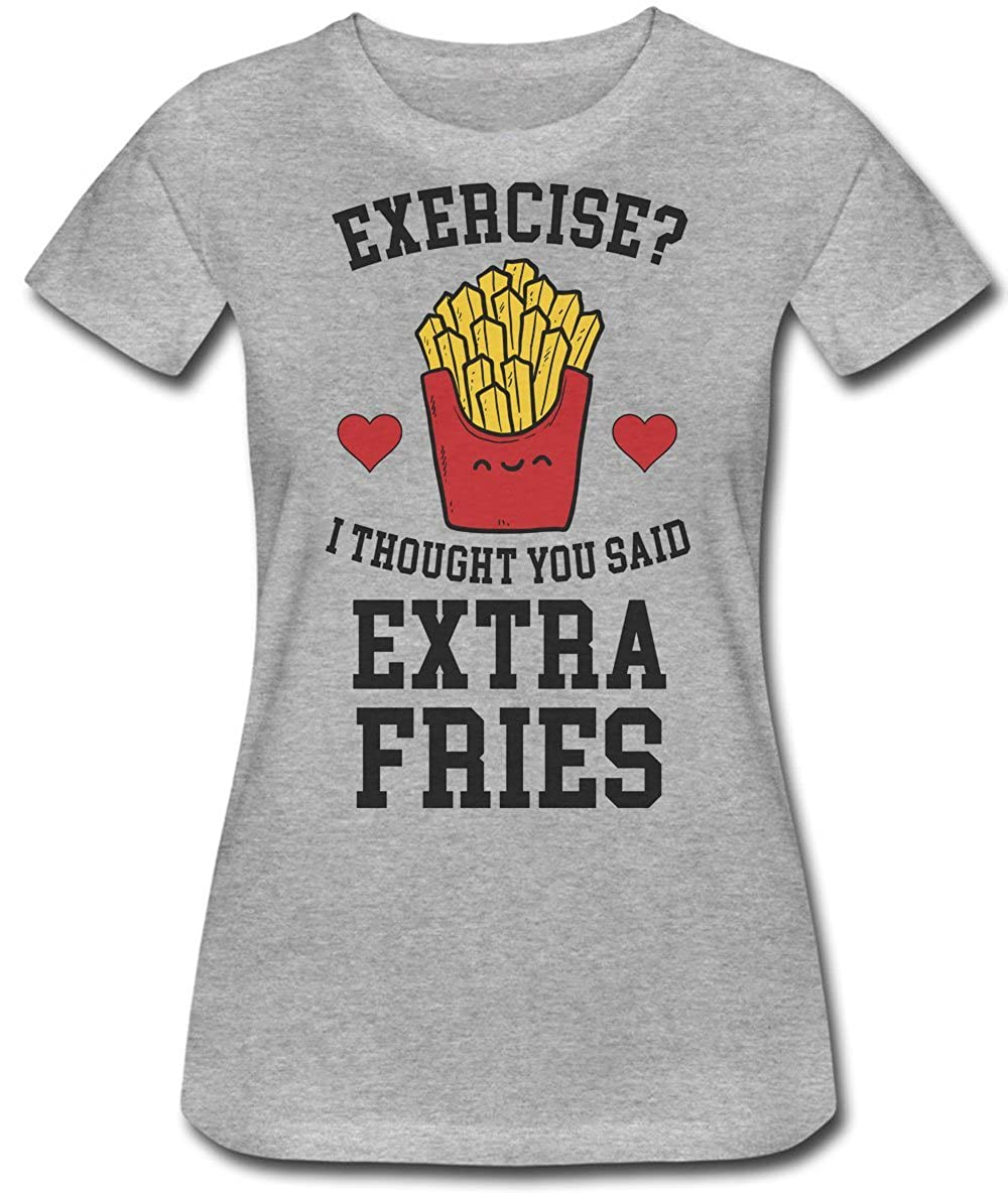 76dd16d61 I Thought You Said Extra Fries Not Exercise Women's T-Shirt at Amazon Women's  Clothing store: