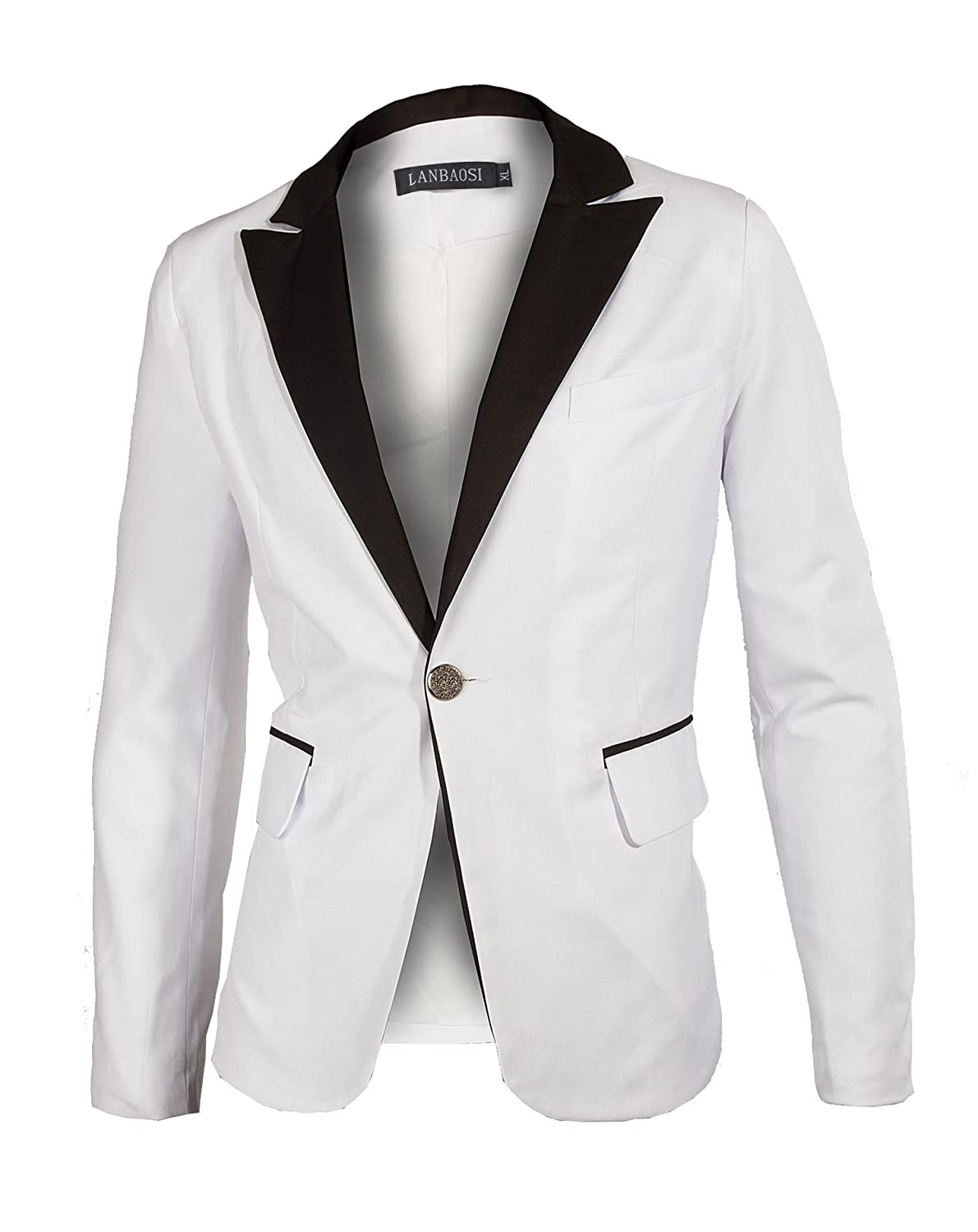 Lanbaosi Men's 1 Button White Dress Suit Jacket and Pants Sets at ...