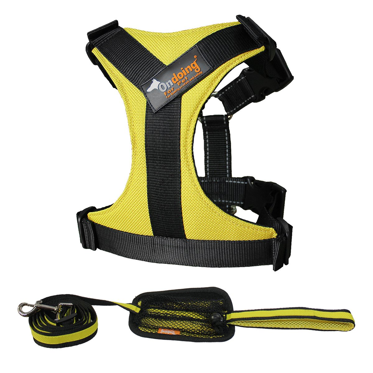 Ondoing Dog Harness No Pull Pet Vest with Handle Adjustable Reflective Easy Control for Small Medium Large Dog, 2 Pieces Yellow, Small