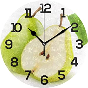 IMONKA Fresh Pear Fruit Round Wall Clock Non Ticking Silent Acrylic Clocks for Home Decor Living Room Bedroom Kitchen School Office