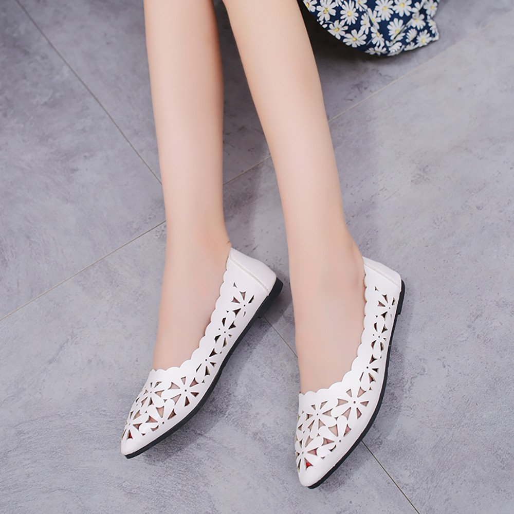 Suma-ma Womens Shallow Flat Heel Shoes Hollow Out Flower Shape Nude Shoes Pointed-Toe Casual Shoes