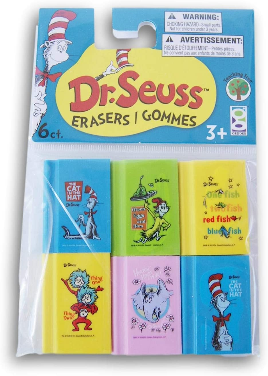 Seuss Set of 6 Book Erasers One Fish Dr Cat in the Hat Green Eggs and Ham