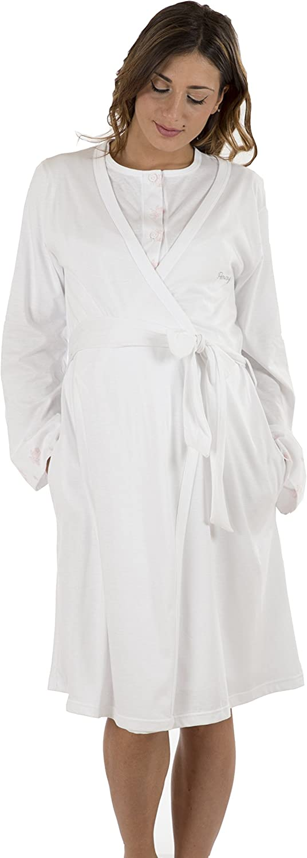Premamy - Bata para Maternidad, Estilo Anudado, Jersey algodón, pre-Post-Parto: Amazon.es: Ropa y accesorios