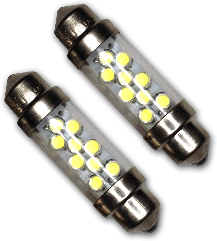 TuningPros LEDTCL-39M-W9 Trunk Cargo Light LED Light Bulbs Festoon 39mm, 9 LED White 2-pc Set