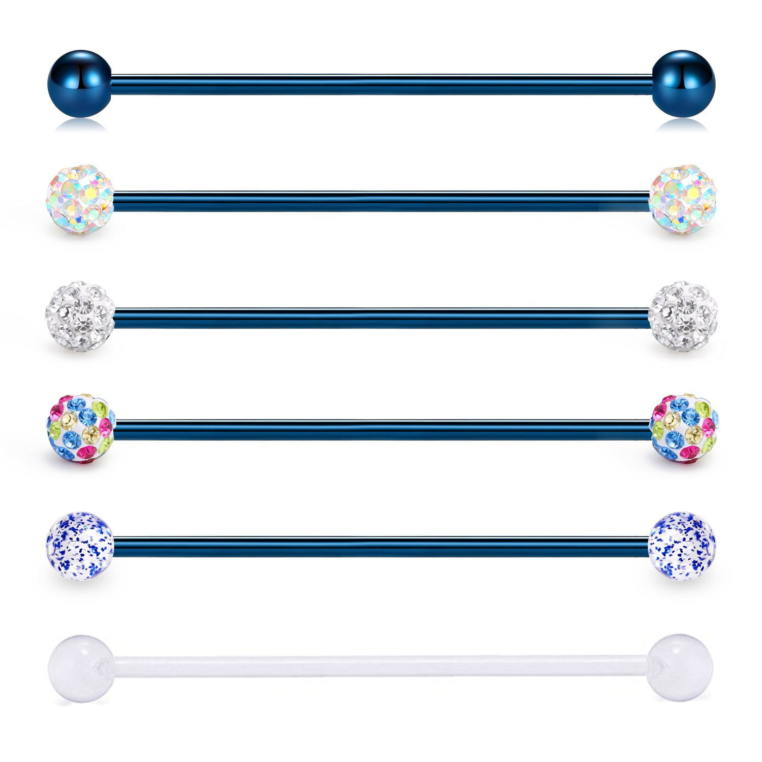 vcmart Industrial Barbell 14G 6PCS 38mm Stainless Steel Ear Cartilage Helix-Conch Piercing Bar 1 1/2 Inch LGY1881C