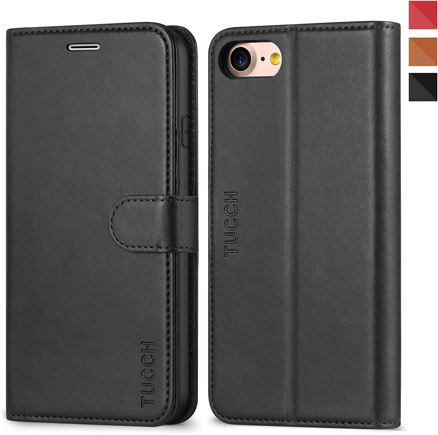 TUCCH iPhone 8 Case, iPhone 7 Wallet Case, Premium PU Leather Flip Folio Wallet Case with Card Slot, Stand Holder and Magnetic Closure [TPU Shockproof Interior Case] Compatible with iPhone 7/8, Black